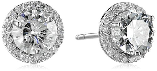 Platinum over Sterling Silver VG Moissanite Framed Round Stud Earrings by Amazon Collection