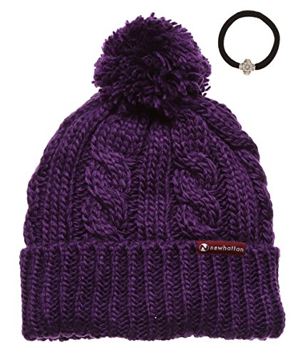 zed Cable Knitted Fleece Lined Pom Pom Beanie Hat with Hair Tie. (One size, Purple with logo) (Logo Knit Cap)