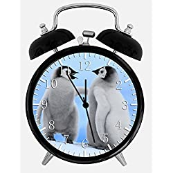 Cute Baby Penguins Alarm Desk Clock 3.75 Home Office Decor F09 Nice For Gifts