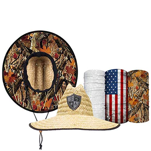 S A Straw Hat Pack - Forest Camo Under Brim Straw Hats for Men and Straw Hats for Women - UPF 50+ Sun Hats and 3 Face Shields ()