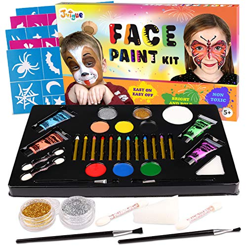 Face Paint Kit for Kids - 12 Colors Crayons, 7 Colors Paints, 4 Colors UV Backlight Paint, 2 Glitters, 30 Stencils, 1 Makeup Sponges and 4 Brushes, Professional Face Paint Party Set - Safe Facepaintin]()