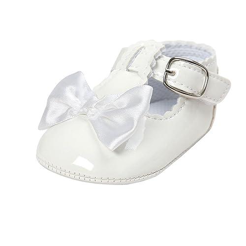 4049e21c Estamico,Bautizo del bebé zapatos,Zapatos primeros pasos para niña,Blanco  6-12 Meses: Amazon.es: Zapatos y complementos