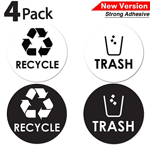 4 x 4 Use at Home Kitchen /& Office x 2 Sets Organize /& Coordinate Garbage Waste from Recycling -Indoor /& Outdoor FOAL Recycle Trash Bin Logo Sticker
