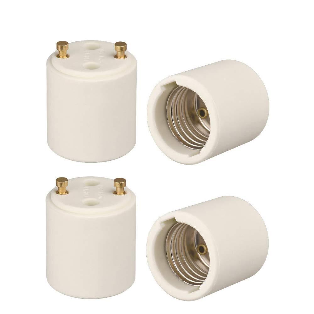 Onite 2pcs GU24 to E26 Adapter GU24 to Medium Base Change US Standard Screw E26 Bulb to Fixture GU24 Pin Base Holder High Temperature Resistant White Porcelain LED Halogen Socket Converter