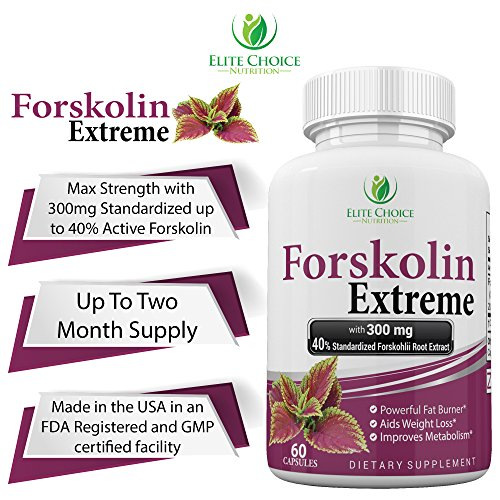Forskolin Extreme 40% Standardized 100% Pure & Natural with 300mg per Veggie Capsule - Best Fat Burner Weight Loss Supplement & Metabolism Booster High Quality Diet Pill from Elite Choice Nutrition
