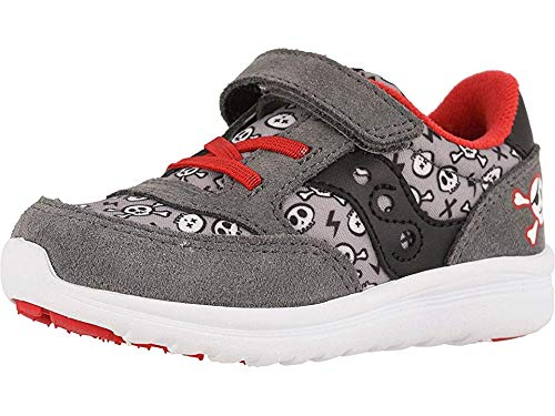 Saucony Boys' Baby Jazz Lite Sneaker, Grey/Red Pirate, 7 M US Toddler