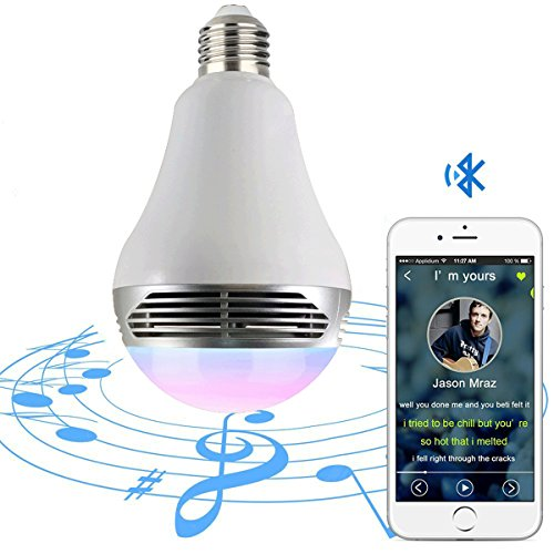 Magic Hue Bluetooth Speaker Bulb - Multicolored Disco Music Party Light Bulb with Speaker - Dimmable Tunable White Wake Up LED Light with Alarm - 6 Watts