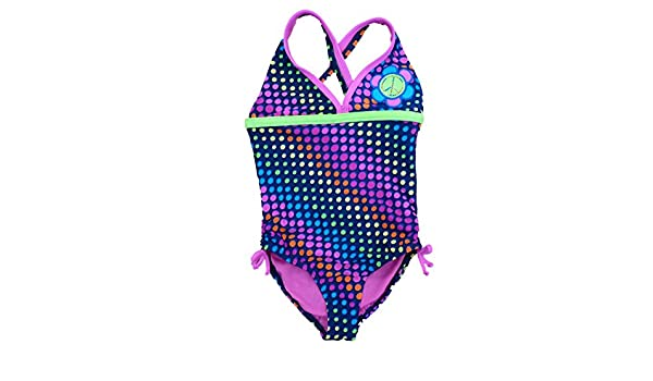 af5eccada4 Amazon.com: Angel Beach Girls Blue with Neon Dots Swimming Suit Swim  Bathing Suit 1 PC: Clothing