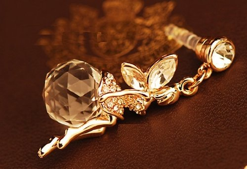 CJB Dust Plug / Earphone Jack Accessory Golden Fairy Crystal Ball for iPhone 4 4s S4 5 All Device with 3.5mm Jack (US Seller)