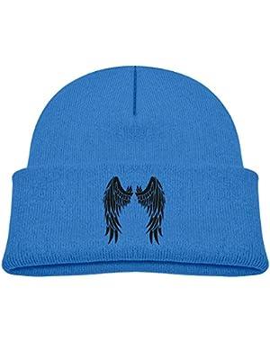 Kids Knitted Beanies Hat Evil Angel Wings Winter Hat Knitted Skull Cap for Boys Girls Blue