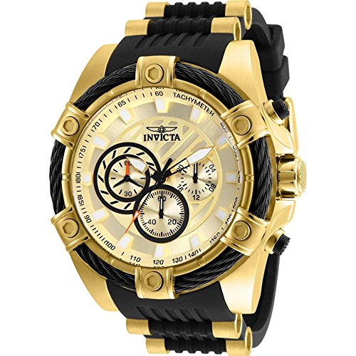 Invicta Men's 'Bolt' Quartz Stainless Steel and Silicone Casual Watch, Color:Black (Model: 25526)