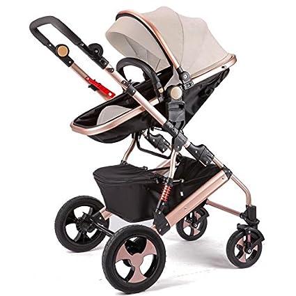 Qiangzi Carrito bebé Niño El cochecito de bebé puede sentarse puede mentir abajo de doblez doblar cuatro ruedas ...