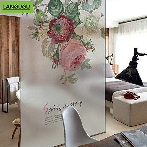 - LANGUGU Flower Pattern Glass Non-Adhesive No Glue Static Decorative Privacy Window Films 22.8in. By 35.4in. (58 X 90cm) Glass Sticker For Office Home Bedroom Glass Door Privacy