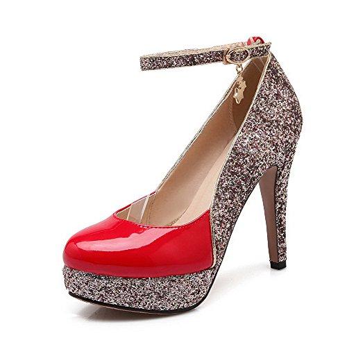 Amoonyfashion Donna Tondo Fibbia Punta Chiusa Materiali Assortiti Scarpe Col Tacco Alto Pompe-scarpe Rosse