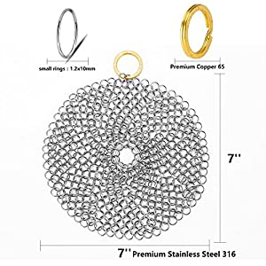 Premium Stainless Steel Rectangle Chainmail Scrubber Cast Iron Cleaner/Grill Scraper/Skillet Scraper