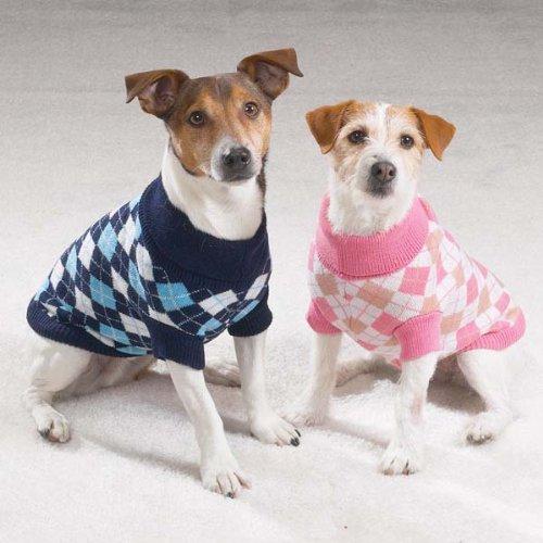 - X-Small Blue Argyle Turtleneck Dog Sweater