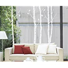 N.SunForest Nature White Birch Tree Wall Decal Sticker Art Branch Leaves Decor for Sitting room Restroom Study Nursery Office Supermarket Door Window (28527)