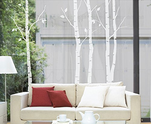 N.SunForest Nature White Birch Tree Wall Decal Sticker Art B