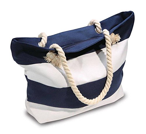 (Beach Bag With Inner Zipper Pocket - Medium Sized Mesh Cotton Striped Summer Tote Bag and Bonus Phone Dry Bag)
