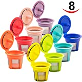 8 Pack Reusable K Cups for Keurig 2.0 & 1.0 Brewers Universal Fit, Eco Friendly Reusable Refillable Single Cup Coffee Pod, Keurig Coffee Filter, Stainless Steel Mesh Filter, in 8 Assorted Color