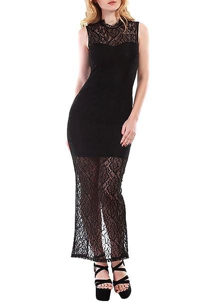 Vestido Negro Encaje sin Mangas Abertura Trasera Cuello Alto Vestido Largo Formal (S)