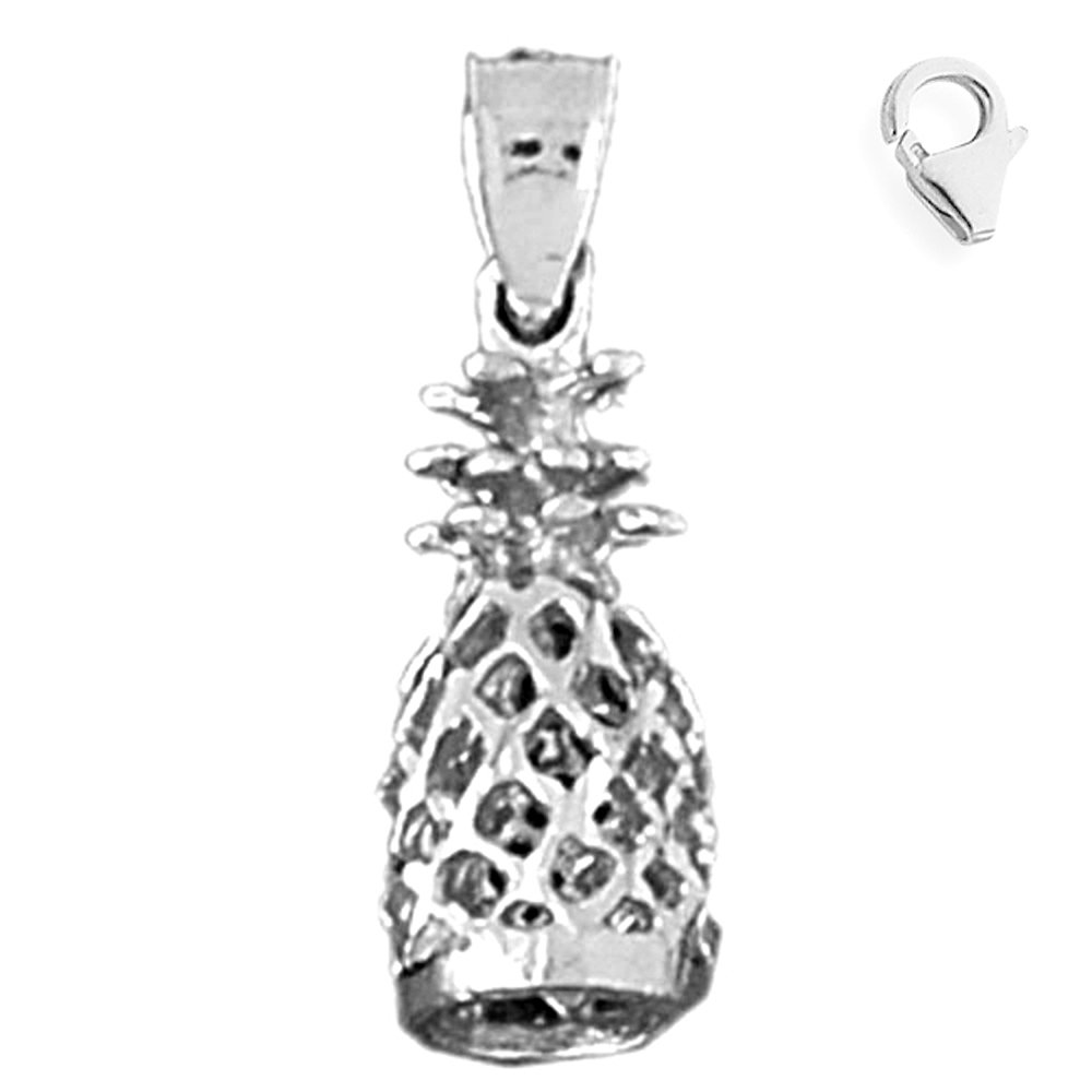 Jewels Obsession 3D Pineapple Pendant Sterling Silver 23mm 3D Pineapple with 7.5 Charm Bracelet