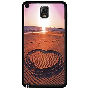 Heart Drawn in the Sand Romantic Beach Hard Snap on Phone Case (Note 3 III)