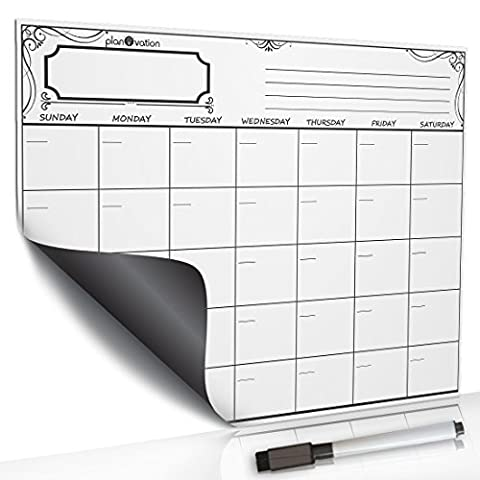 Premium Magnetic Dry Erase Board By planOvation - Weekly / Monthly Refrigerator Calendar - Perfect Organizer For The Family's Plans & Chores (16