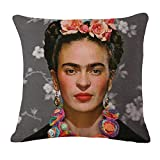 cushion cover fabric Frida Kahlo Colorful Flowers Pillowcase 43x43cm/17x17'' Woven Pillow Covers Polyester&Linen Home Decor cushion cover for sofa (A6) Reviews