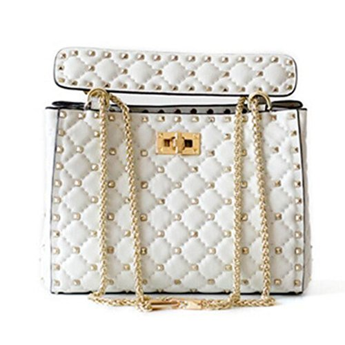 (ACTLURE Women Lambskin Leather Stud Rock Spike Chain Handbag Shoulder Bag (white))