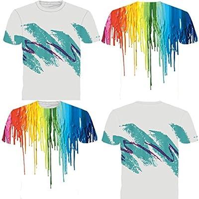 Siviki Clearance! Hot Sale Mens Multi Color 3D Printing Tees Shirt Short Sleeve T-Shirt Blouse Tops