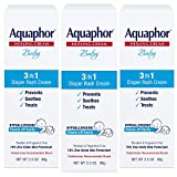 Aquaphor Baby 3 in 1 Diaper Rash Cream - Prevents, Soothes and Treats Diaper Rash - 3.5 oz. Tube (Pack of 3)