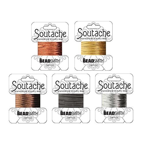 - Beadsmith Soutache Braided Rayon Cord/Trim Bundle: 5 Colors, 3mm Wide, 3 Yds per color - Gold, Sil