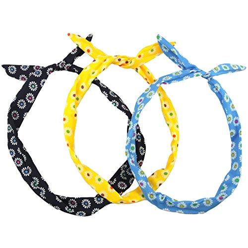 Daisy Print Wire Wrap Headband - 3 Piece Set - Multi Coloured