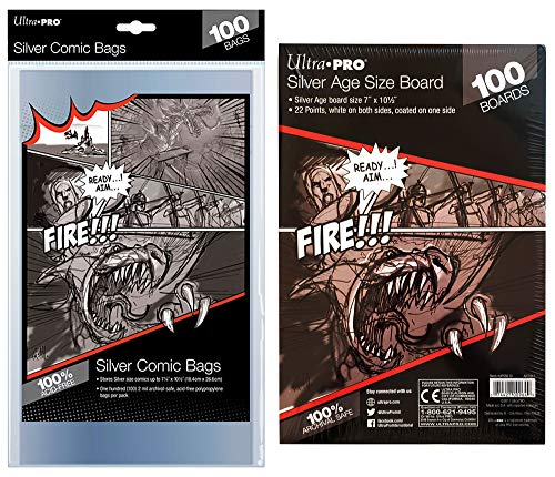 Ultra Pro Silver Age Comic Book Bags and Boards Set for Silver Age Comic Books, 100 Count ()