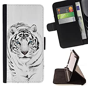 - Tiger Snow Leopard Winter Black White Fur Animal - - Monedero PU titular de la tarjeta de cr????dito de cuero cubierta de la caja de la bolsa FOR Apple Iphone 5 / 5S RetroCandy