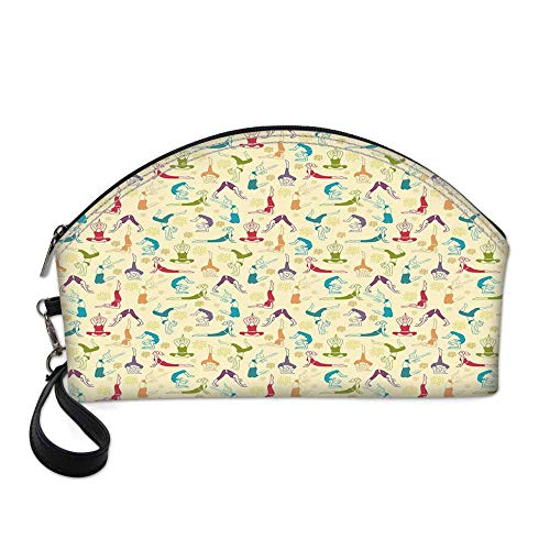 (Yoga Small Portable Cosmetic Bag,Workout Themed Fitness Girls Pattern Abstract Meditation Postures Arrangement Asian Decorative For Women,One size)