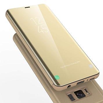 AURSEN Case de Teléfono para Samsung Galaxy S8 Plus , Flip Cover Carcasa Samsung S8+ , Soporte Plegable, Cierre Magnético - Dorado