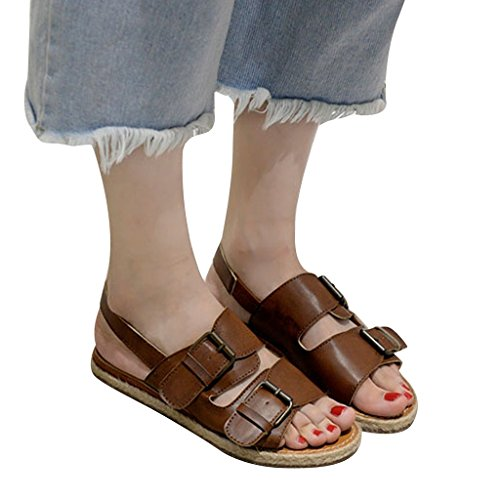 Dear Time Womens Espadrille Buckles Grass-weaving Slip-on Sandals Brown 5rDRy