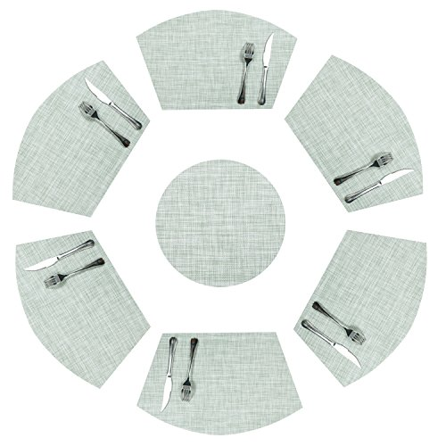 SHACOS Placemats for Round Dinner Table, Set of 6 Wedge Kitchen Table Mats with 1 Round Center Piece,Heat Resistant Easy to Clean and Washable (7, Mint Green)