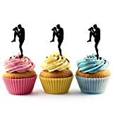 TA0205 Muay Thai Kickboxing Silhouette Party Wedding Birthday Acrylic Cupcake Toppers Decor 10 pcs