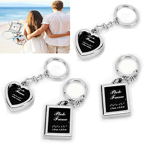 zison 4PCS Picture Frame Keychains – New Design 2 Different Shapes (Square, Heart) Stainless Steel Photo Frame Key Ring (Personalized Keychains Bulk)