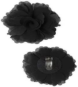 Douqu High Heel Chiffon Ribbon Rose Flower Fashion Sandals Shoe Clips Charms Decoration Pair (Black)