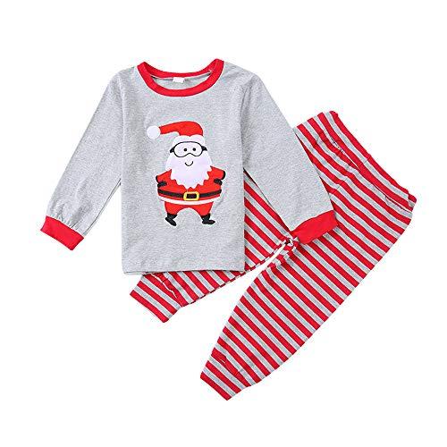 Happy Town Toddler Boys Girls Kids Santa Claus Shirt + Striped Pants Outfits Homewear Pajamas Set (Grey, 3-4 Years) -