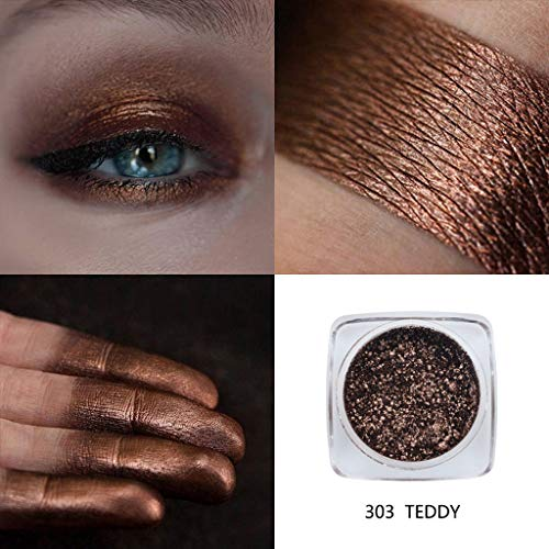 Metallic Eyeshadow Palette by HP95 - Single Baked Shimmer Glitter Eyeshadow Palettes Smoky Eye Shadow Makeup for Carnival/Masquerade/Party/Holiday (#303-TEDDY)
