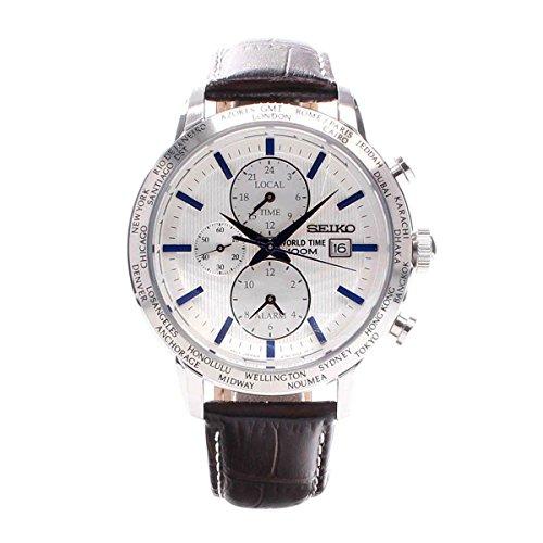 Time Mens White Dial (Seiko SPL051 P1 White Dial Brown Leather Band World Time Alarm Men's Analog Quartz Watch)