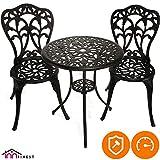 InnFinest Patio Bistro Dining Table - Cast Aluminum Umbrella Hole Table - Rust Resistant Lattice Weave Design - for Outdoor Furniture Patio Deck Garden (Black)