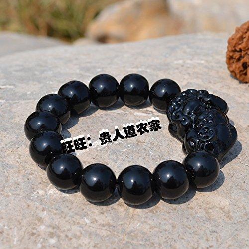 New black brave bracelet beads bracelets Buddhist supplies imitation agate yellow crystal glass couple ultra low-cost