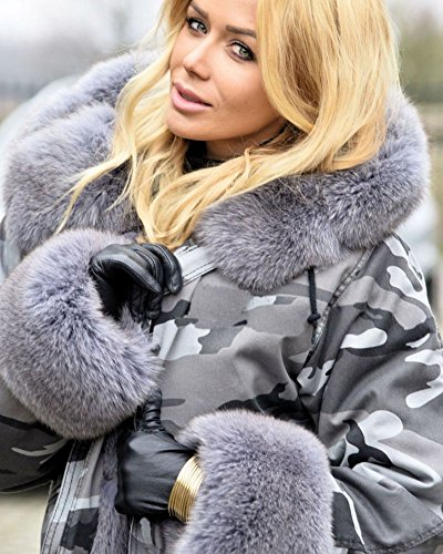 Roiii Plus Size Womens Military Hooded Warm Winter Coats Faux Fur Lined Parkas (Medium, Grey) by Roiii (Image #3)