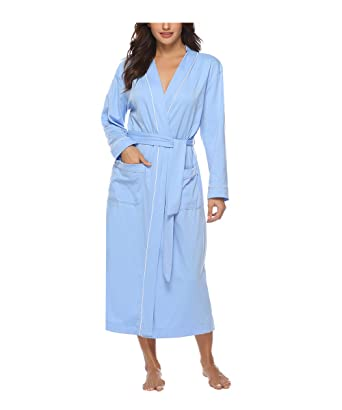 77b2818e1e70a Sykooria Femmes Peignoirs de Bain en Tricot Coton Casual l'hôtel Spa Sauna  Vêtements de Nuit avec 2 Poches Manches Longues